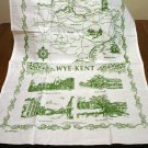 Wye-Kent souvenir tea towel cotton unused green white vintage1381vf