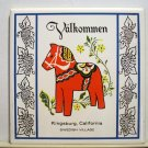 Valkommen souvenir tile Dala red horse Kingsburg, California Swedish Village vintage1383vf