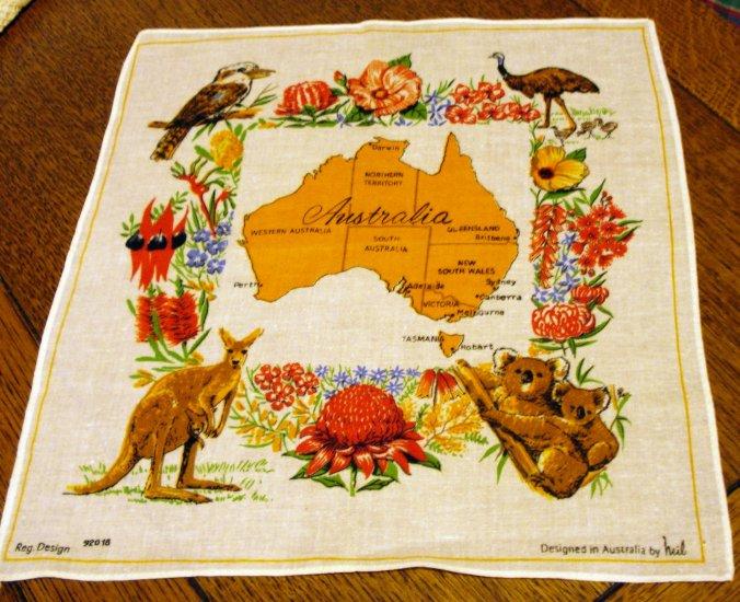 Australia cotton souvenir hanky flora, fauna map unused vintage1387vf