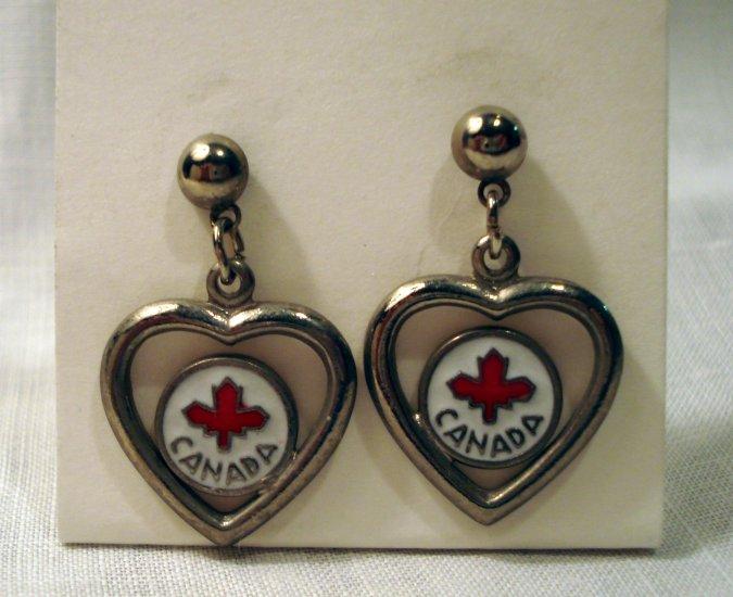Heart Canada souvenir drop earrings silver tone enamel pierced vintage1393vf