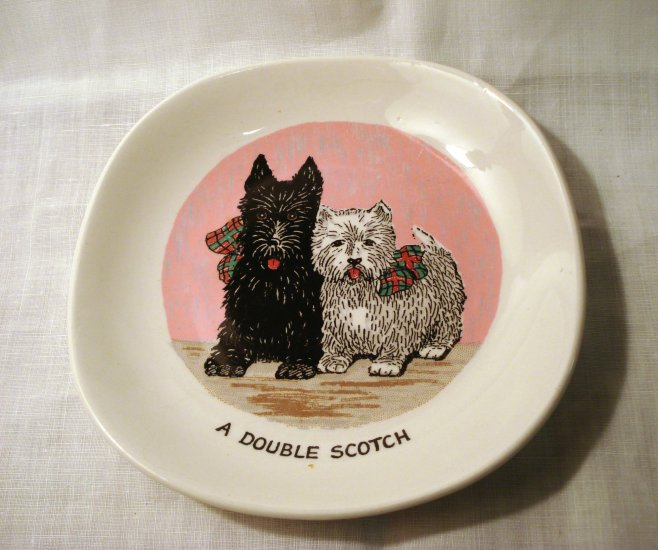 Black and White a Double Scotch drink saucer Weatherby Falcon Ware vintage1394vf