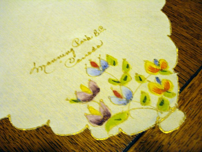 Manning Park BC Canada Hand painted souvenir hanky vintage1400vf