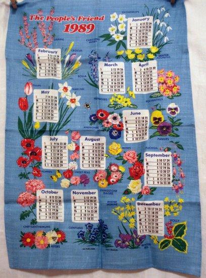 The People's Friend 1989 calendar towel linen advertising promo floral unused vintage 1414vf