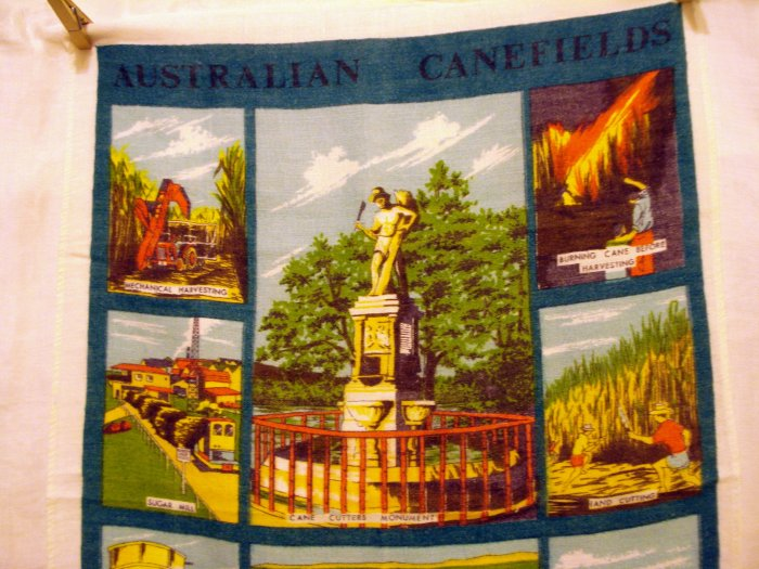 Australian Canefields linen souvenir towel Lamont design made Ireland vintage 1416vf