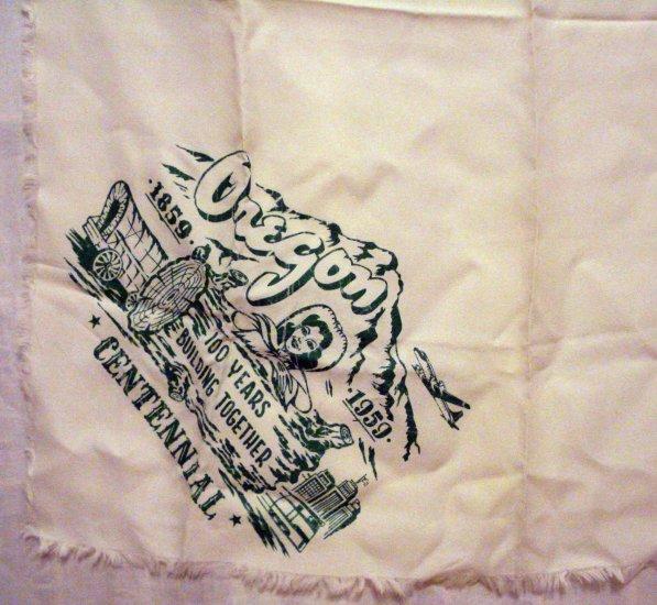 Oregon state centennial souvenir scarf rayon 1959 vintage 1433vf