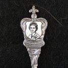25th Anniversary spoon HRH Elizabeth II coronation silverplate enamel portrait vintage 1435vf