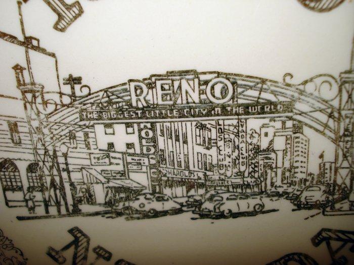 Reno Nevada souvenir plate pre Vegas gold decoration vintage 1445vf