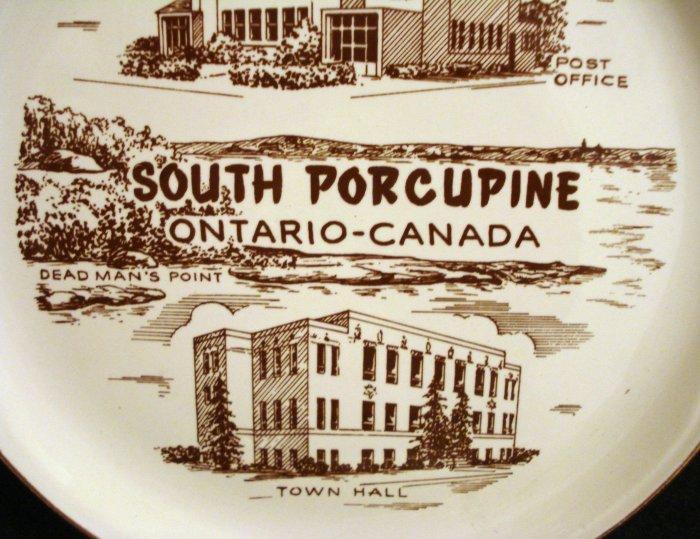 South Porcupine Ontario 22K gold trim souvenir plate as new vintage 1448vf