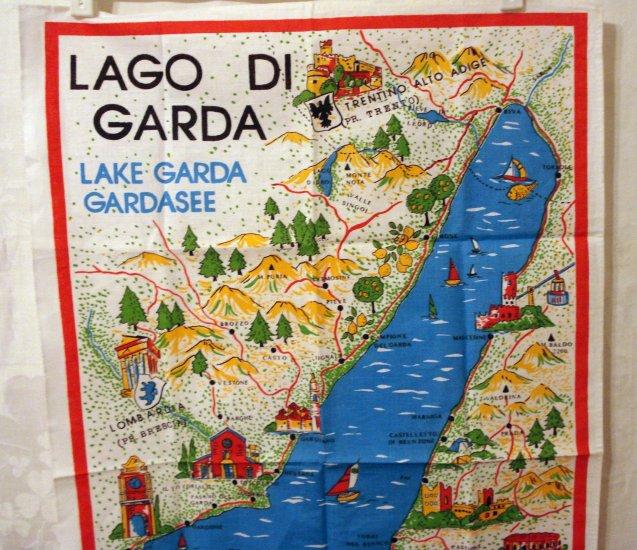 Lago di Garda Lake Garda Italy picture map souvenir tea towel cotton unused vintage 1459vf