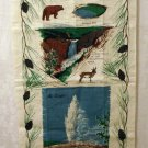 Yellowstone National Park souvenir tea towel linen Old Faithful unused vintage 1460vf