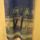 Chiffon Holland tulips souvenir scarf long blue synthetic  perfect vintage 1476vf