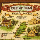 Isle of Man Ellan Vannin souvenir cotton towel Vikings Kirks Castles vintage 1477vf