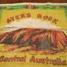 Ayers Rock Central Australia souvenir linen tea kitchen towel kangaroos used vintage 1494vf