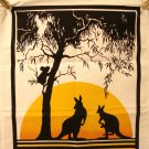 Dramatic Australia souvenir tea kitchen towel or poster kangaroos koala cotton unused vintage 1501vf