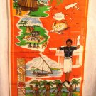 Fiji souvenir tea kitchen towel linen spear dance outrigger firewalking bures unused 1525vf