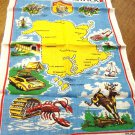 New Brunswick souvenir tea kitchen towel linen unused vintage1532vf