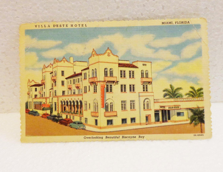 Villa D'Este Hotel Miami Florida advertising postcard Curteich Chicago linen unused 1567vf