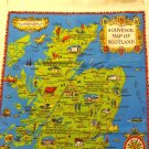 Souvenir of Scotland tea towel figural map all cotton unused vintage 1573vf