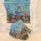 Souvenir of Hawaii kitchen linens cotton oven mitt potholder towel unused 1577vf