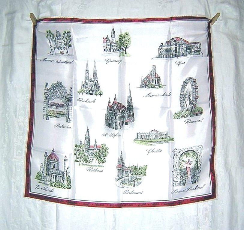 Viena Austria souvenir scarf acetate unused vintage 1224vf