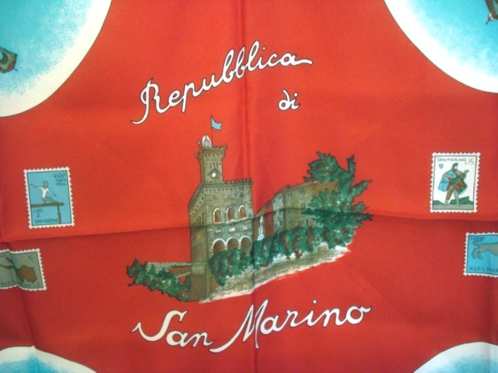 Republic di San Marino souvenir scarf unused vintage scarves 1209vf