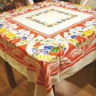 Dutch children in tulips souvenir tablecloth colorful excellent vintage Holland 1446vf