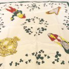 Ireland souvenir scarf shamrocks, Tara brooch, harp, colleen, leprechaun, acetate vintage 1600vf