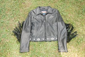 "Women's Black Leather Motorcycle Jacket by ""Cripple Creek""...XXL"