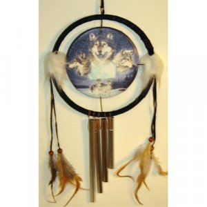 wolf dream catcher with wind chime