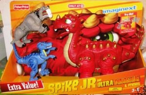 Fisher Price Imaginext Spike Jr the Ultra Red Dinosaur & Friends Raptor & Sabretooth Only at Target