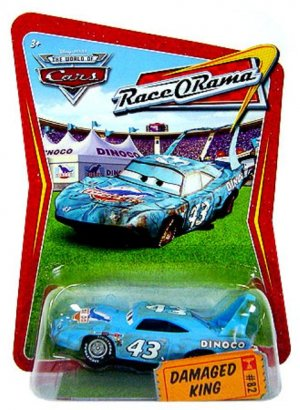 DISNEY PIXAR CARS Animated Movie 1:55 Die Cast DAMAGED KING # 82 Race-O-Rama Series NEW