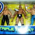 WWF Jakks Pacific Triple Threat Y2J Chris Jericho, The Rock & Triple H Action Figures 3 Pack