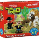 Fisher Price Trio Building System Deputy & Bandit with Pieces of bricks, sticks and panels New
