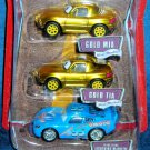 DISNEY PIXAR CARS World Of Cars Bling Bling Mcqueen + Gold Mia & Gold Tia 1:55 Scale New
