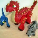 Imaginext Spike Jr the Ultra Red Dinosaur & Friends Raptor & Sabretooth Only at Target USED