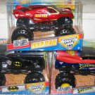 Mattel Hot Wheels Monster Jam - IRON MAN - SUPERMAN - BATMAN 1:24 Scale Die Cast Trucks 3 Pack  New