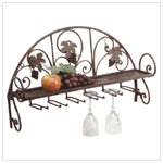 Metal and Grapes Wall Shelf/ Wine Glass Holder #34277