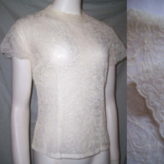 VINTAGE 50s LACE ORGANZA Blouse Sheer Bridal Top * Small / Medium * Free Shipping