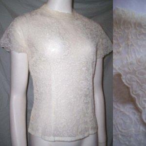 VINTAGE 50s LACE ORGANZA Blouse Sheer Bridal Top * Small / Medium * Free Shipping