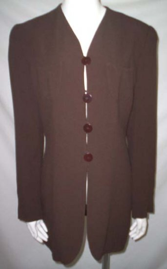ARMANI LE COLLEZIONI BLAZER * Dark Brown Long Tunic Jacket * Women's Size 8 (42) * Free Shipping