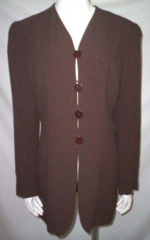 ARMANI LE COLLEZIONI BLAZER * Dark Brown Long Tunic Jacket * Women's Size 8 (42) * Free Shipping