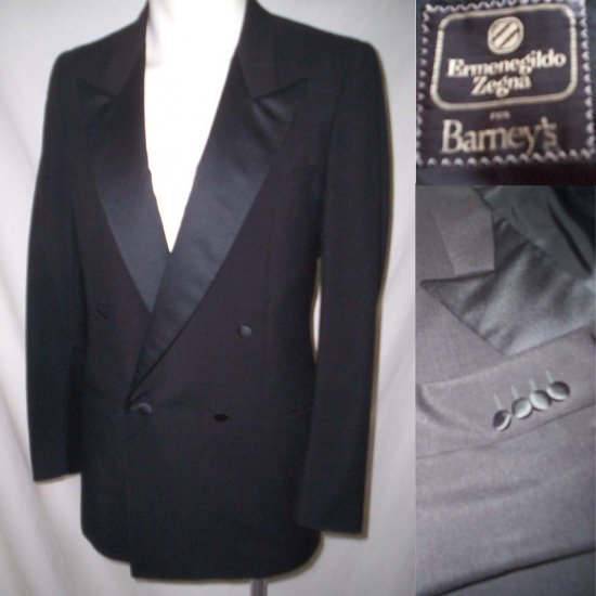 Ermenegildo Zegna TUXEDO JACKET * Black Wool Double Breasted * Men's 40 / 41 * Free Shipping