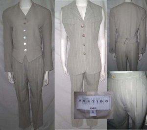 new! VERTIGO 3 pc Pants Suit * Beige White ~ Wool Blend * Women's Size Small * Free Shipping