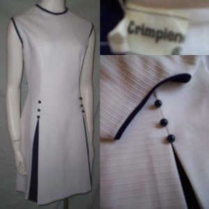 VinTagE 70's Navy & White Pleated Dress * Stunning Polyester! * Women's Size Large