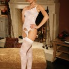 WHITE STRETCH LACE CAMISETTE, 4 PC SET