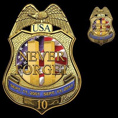 9/11 Twin Towers Commemorative Tshirt Police Badge
