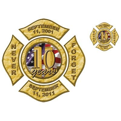 9/11 Twin Towers Commemorative Tshirt Firefighters Badge