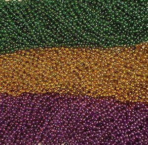 "72 Purple green gold  Mardi Gras Beads lot 33"" 7mm metallic necklaces"