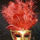 RED GOLD JEWELED  MARDI GRAS PARTY MASQUERADE MASK
