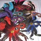 LOT 12 OSTRICH PEACOCK FEATHER MASQUERADE MASK NEW CASE